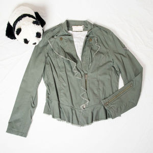 Army green William Rast ruffled military jacket